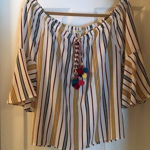 Lily White Off-the-Shoulder Top Cute Tassels